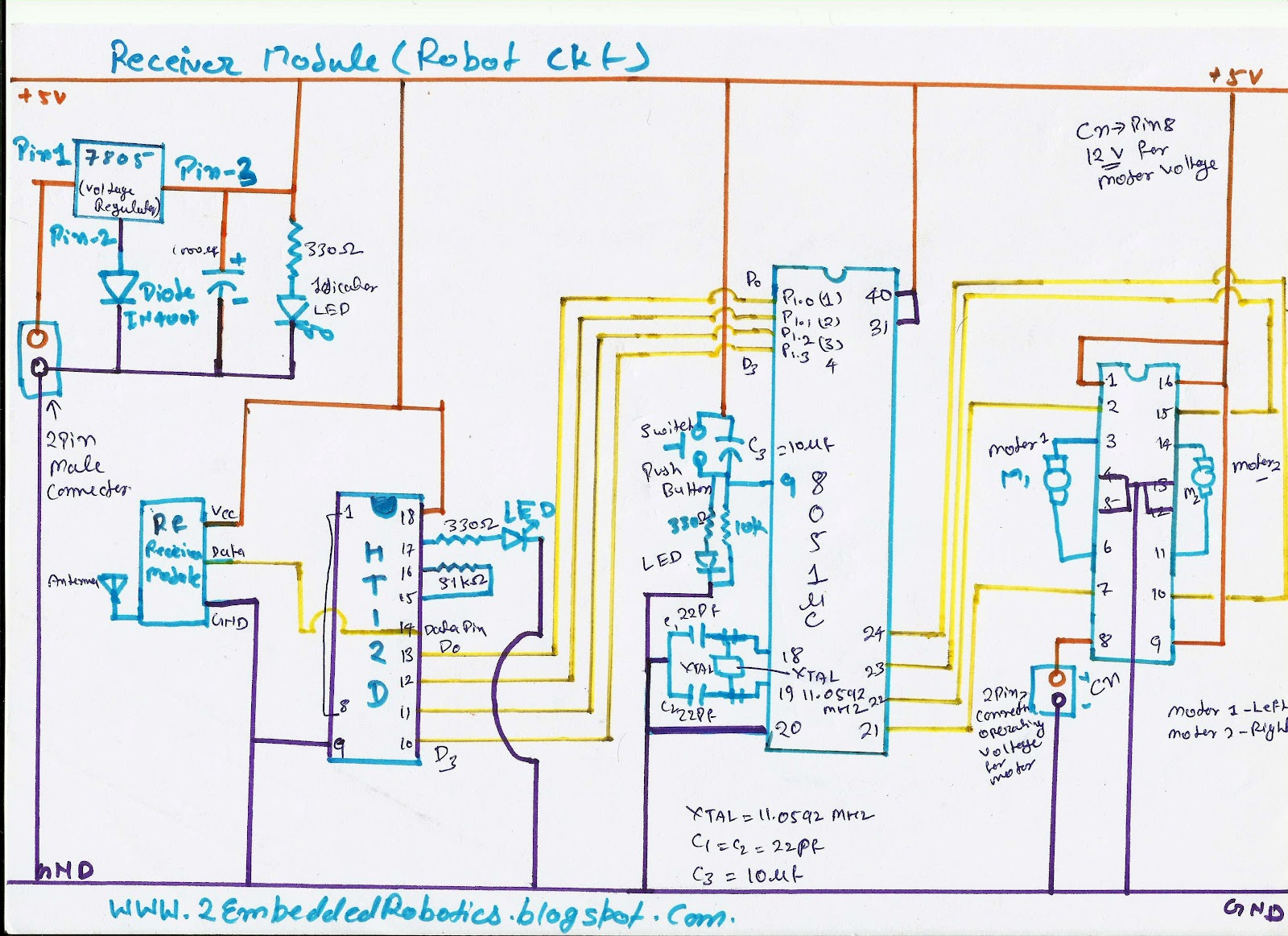 Electronics Projects And Details Gesture Controlled Robot Accelerometer Circuit Diagram Receiver Module