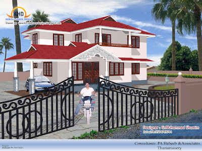 Home elevation designs in 3D - Kerala home design and floor plans