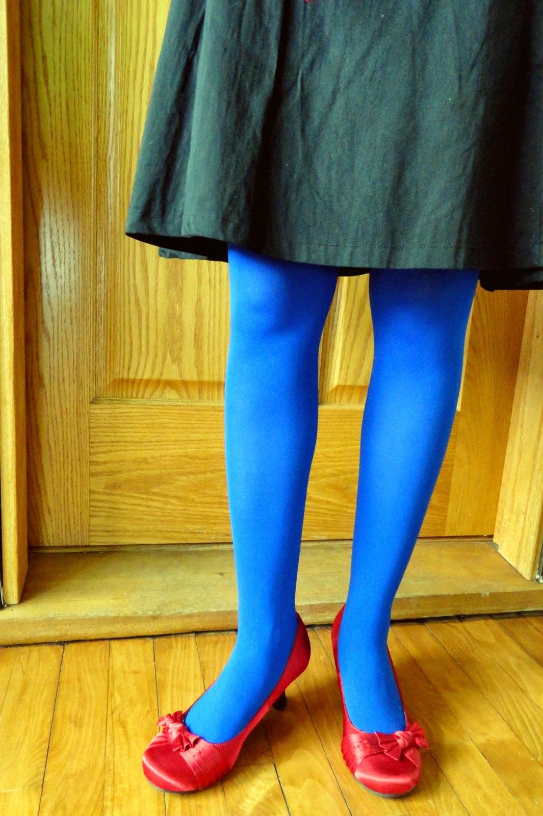 Cobalt Blue Tights Red Heels