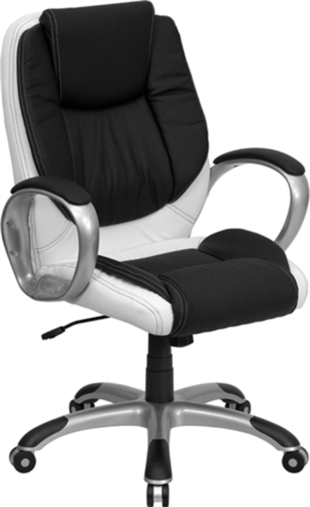 Mid Back Swivel and White Leather Chair by Flash Furniture