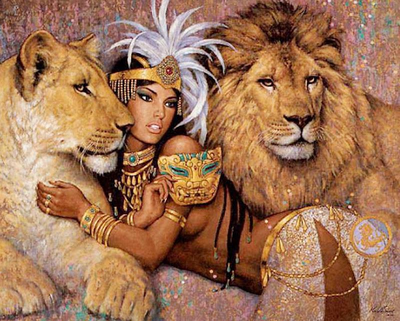 cuadros-al-oleo-con-animales-africanos title=