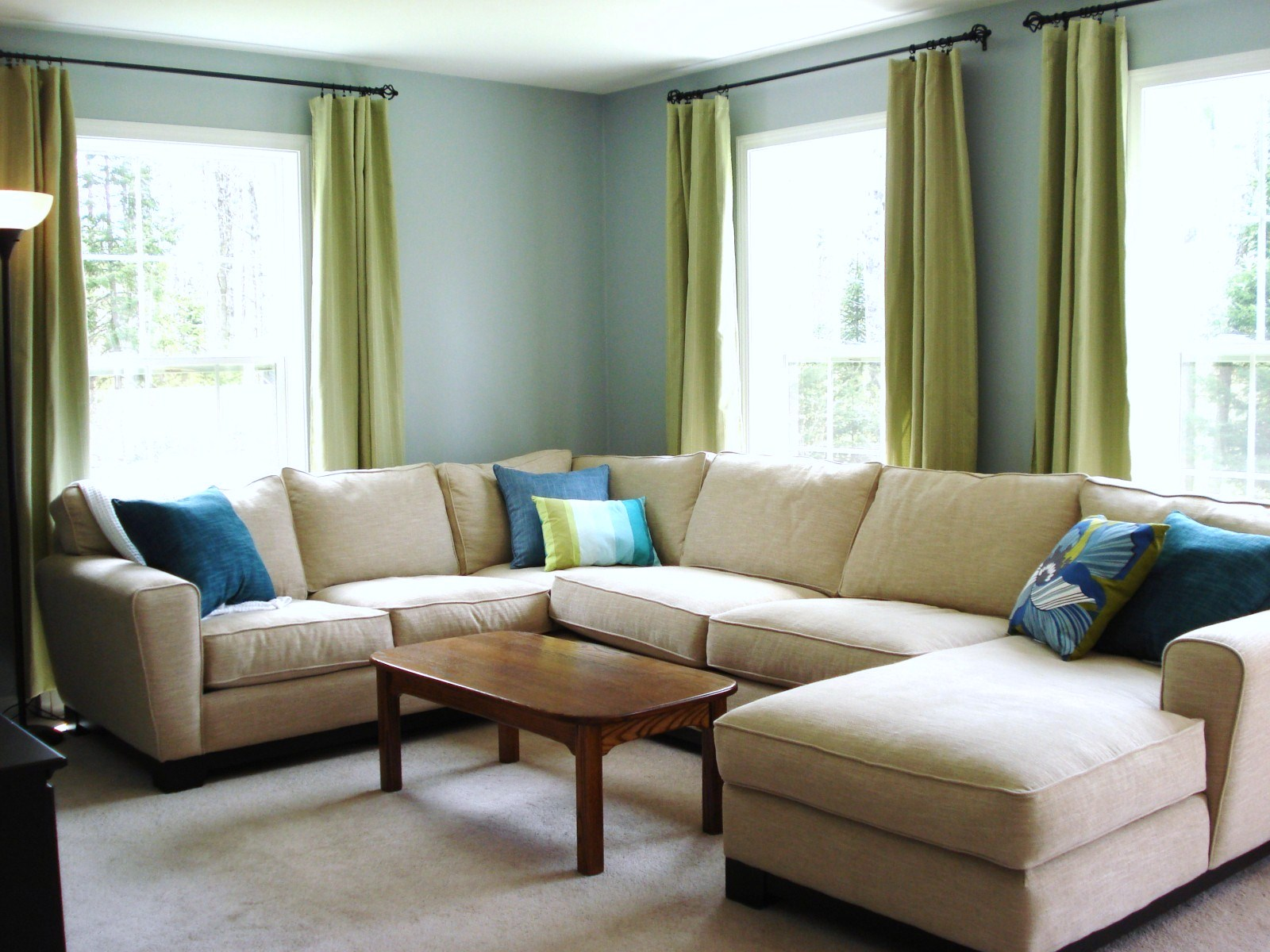 Heart maine home a new blue living room before and after - Green and blue living room pictures ...