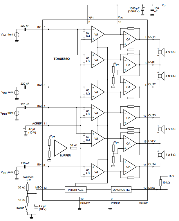 4 x 6w power amplifier with load detection and auto btl  se