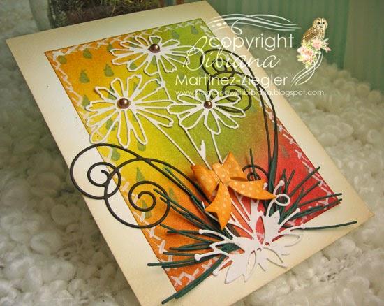 daisies fall card flat view
