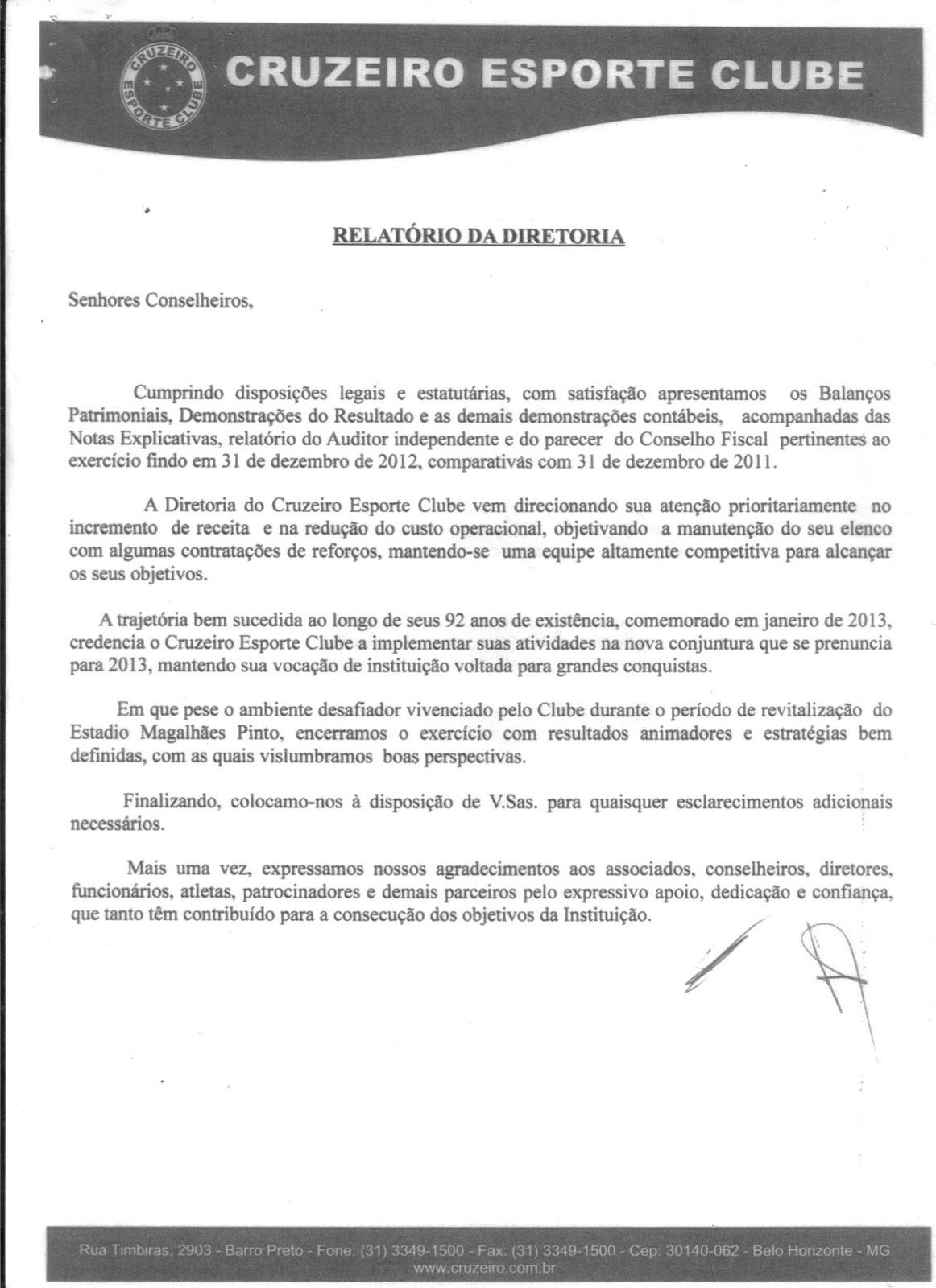 Anísio Ciscotto  Demonstrações Contábeis do Cruzeiro em 31 12 2012 bbb1371f55251