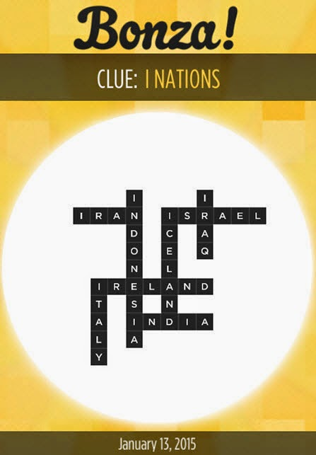 Bonza Daily Word Puzzle Answers January 13, 2015