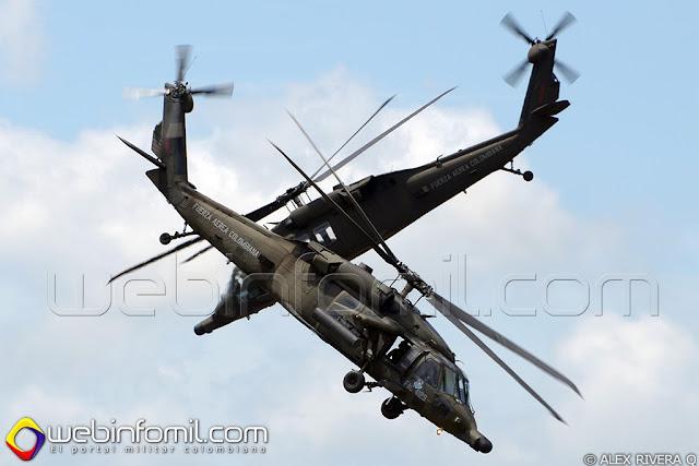 Helicópteros AH-60 Arpía, llevando a cabo su espectacular rutina de exhibición.