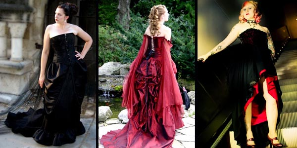 Black and red corset wedding dress This Gothic wedding gown tends to ooze a