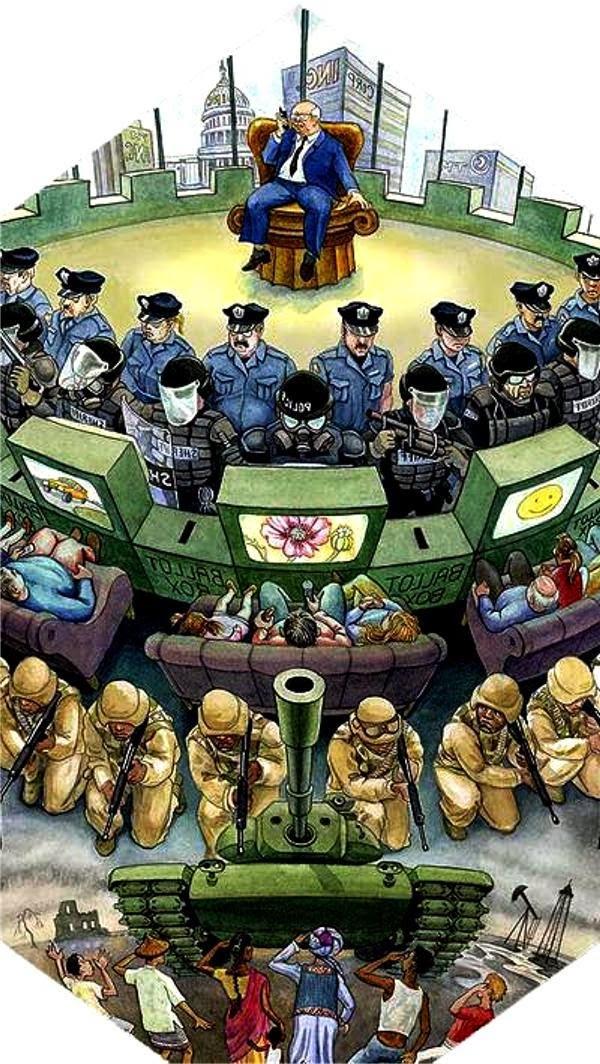 """Medios de manipulación de conciencias (el esclavo """"homo consumus"""") y medios de propaganda política:"""