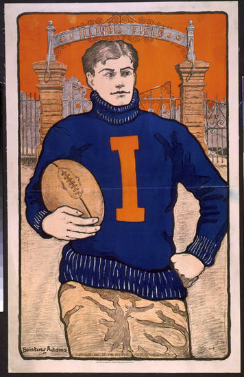 advertising, classic posters, football, free download, graphic design, retro prints, sports, vintage, vintage posters, Illinois Field, Football - Vintage Sports Athletics Poster