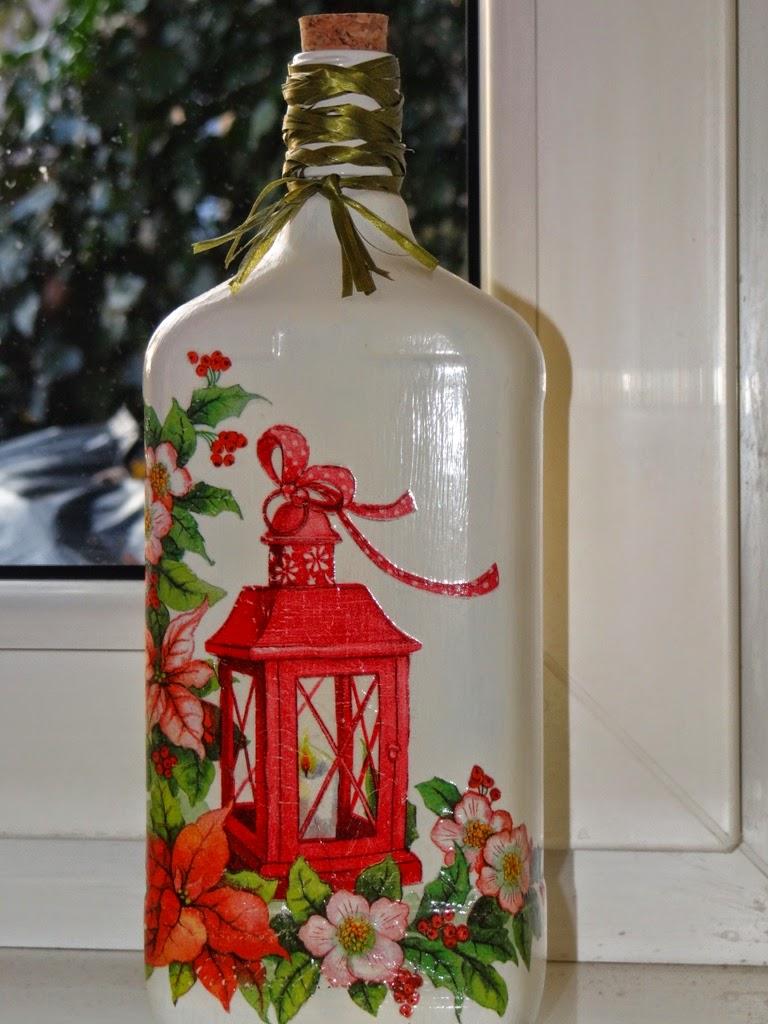 butelka ozdobiona techniką decoupage, dekoracja na Boże Narodzenie