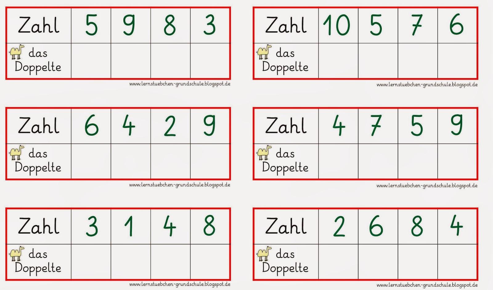 Lernstübchen: Zahl - das Doppelte