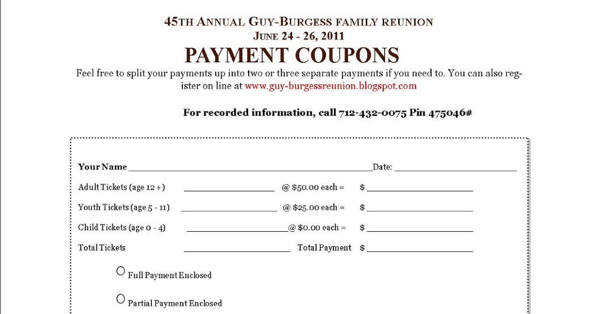 Guy-Burgess Family Reunion: Payment Coupons