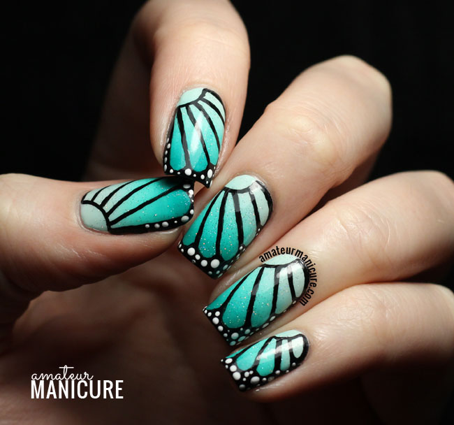 Teal Butterfly Wing Nail Art - Amateur Manicure : A Nail Art Blog: Teal Butterfly Wing Nail Art
