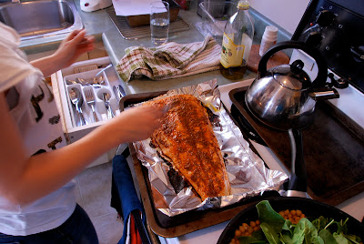 Rachel's Lessons: Pepper-Crusted Salmon With Garlic Chickpeas