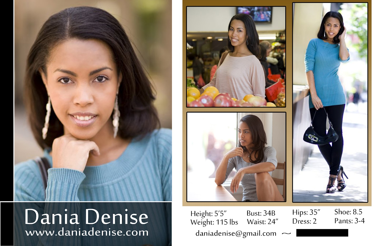 Modeling 101 - A Model's Diary: New Dania Denise Comp Card Designs