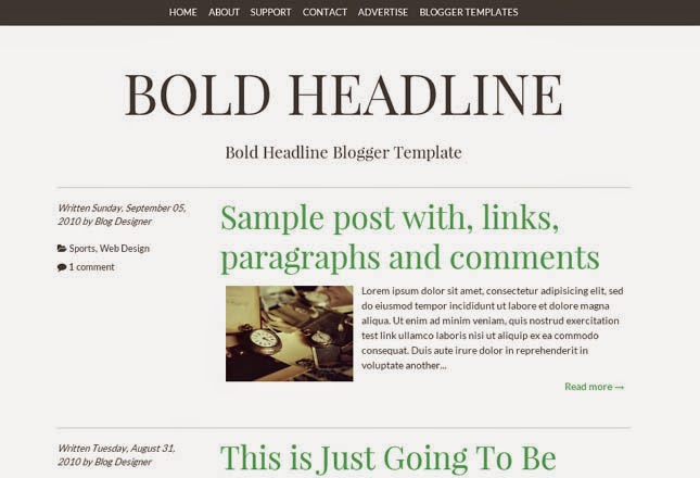Bold Headline Responsive Blogger Template