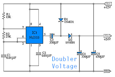 Simple Doubler Voltage 12 to 24 VDC Circuit
