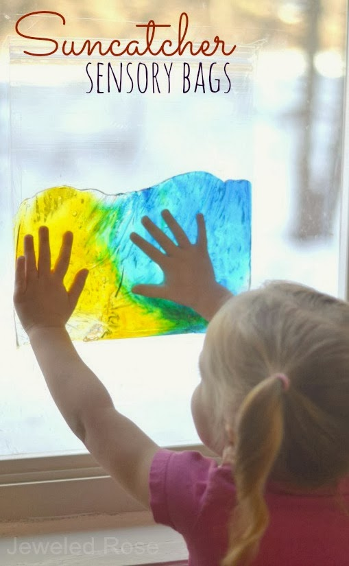 Sun-catcher sensory bags are easy to make, mess free, and allow kids to explore in all sorts of ways