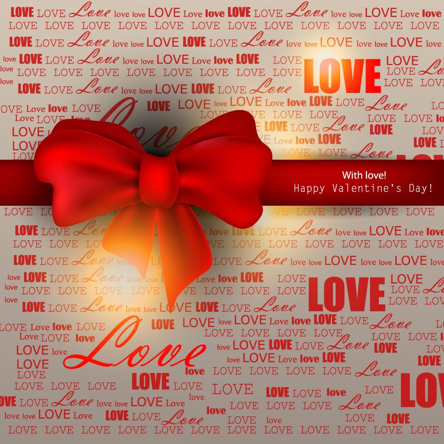 赤いリボンのバレンタインデー背景 Valentines Day red ribbon background イラスト素材