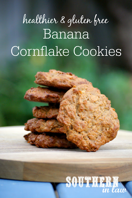 Healthy Banana Cornflake Cookies Recipe | low fat, gluten free, healthy, healthier, lower sugar, refined sugar free