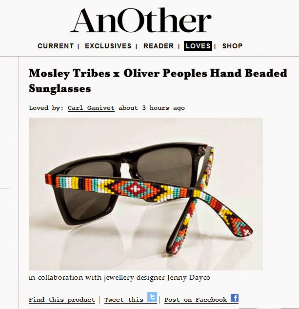 Style.com features beaded sunglasses by Jenny Dayco