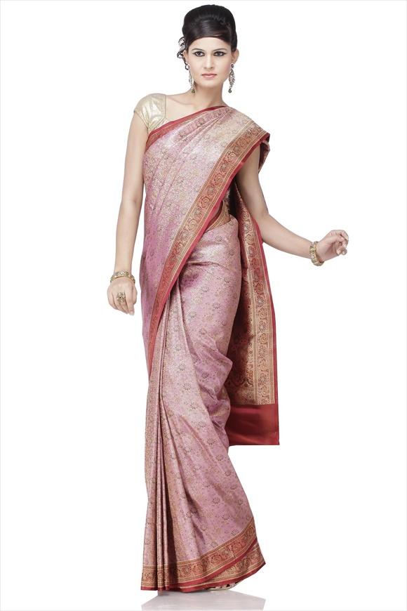 Dull Violet Art Kattan Silk Banarasi Saree