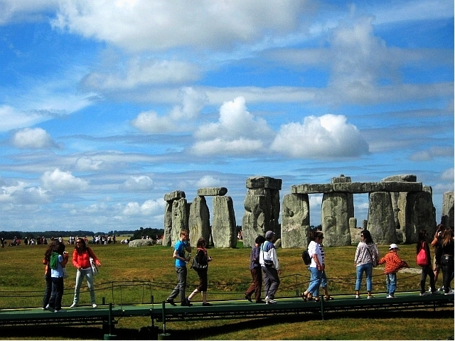 stonehenge with tourists by Susan Wellington
