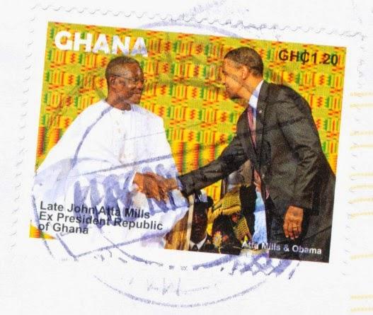 barack obama, john atta mills, stamp, ghana