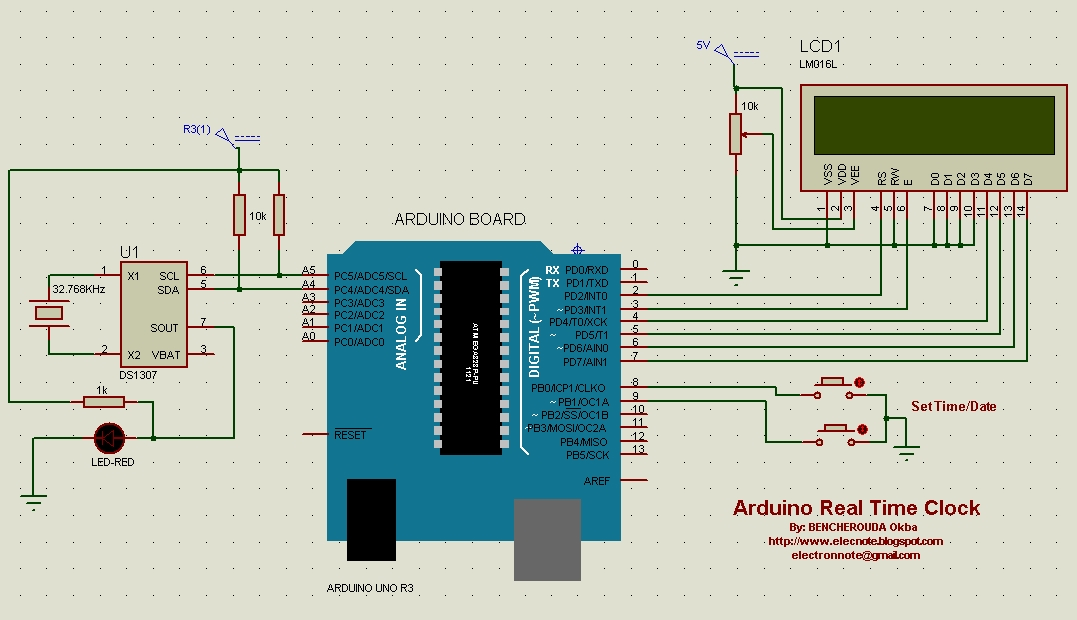 Electronics note arduino real time clock using ds