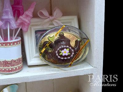 Miniature dark chocolate teapot in clear presentation box