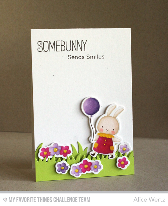 Somebunny Sends Smiles Card by Alice Wertz featuring the Birdie Brown Somebunny stamp set and Die-namics