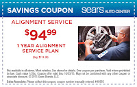 Sears $20 off one year alignment coupon 2015