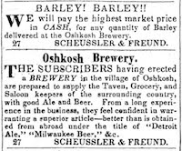 An 1850 ad for the Schussler Brewery