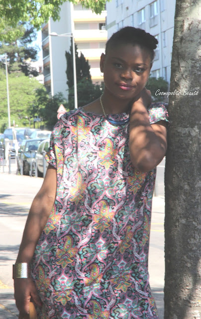 imprimé cachemire, robe, robe imprimé cachemire, cosmopolite beauté, cosmopolitan beauty, natural hair, mode, blogueuse, modeuse