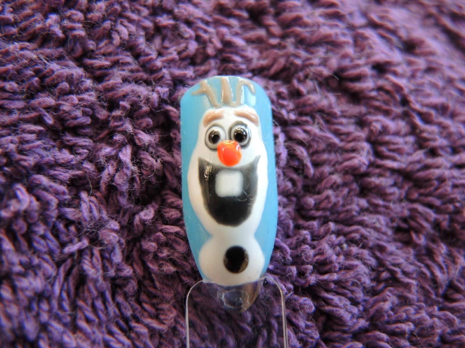 Olaf Frozen Nail Art