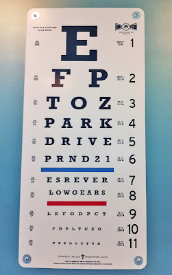 Cars Land Doc eye chart Hudson museum