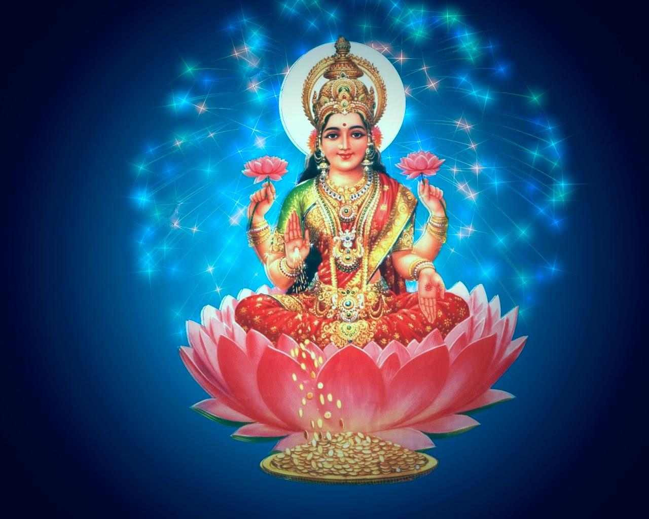 Happy dhanteras Laxmi Goddess Sitting On Lotus  HD Wallpaper 2014
