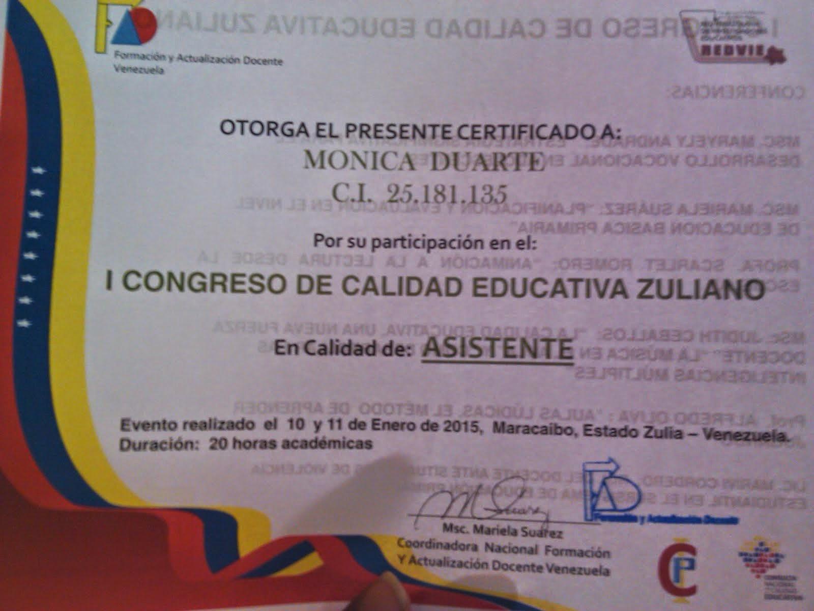 I CONGRESO DE CALIDAD EDUCATIVA ZULIANO