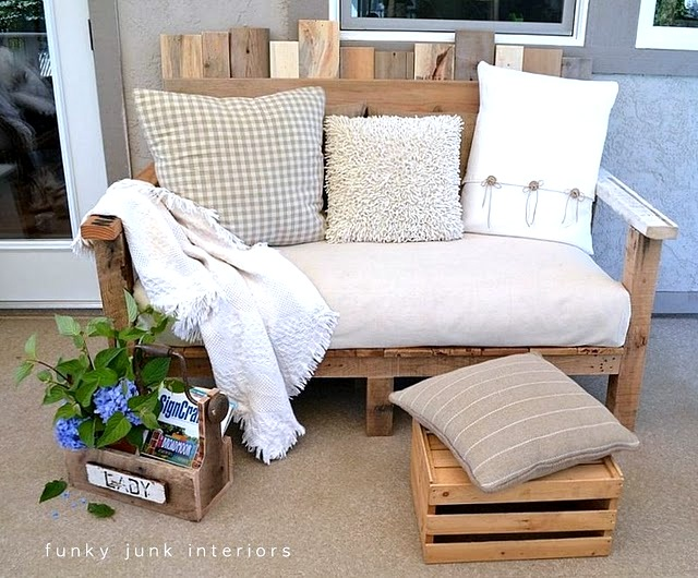 Pallet wood outdoor sofa built by Funky Junk Interiors