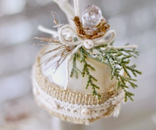 Vintage Burlap Christmas Ornament at One More Time Events.com