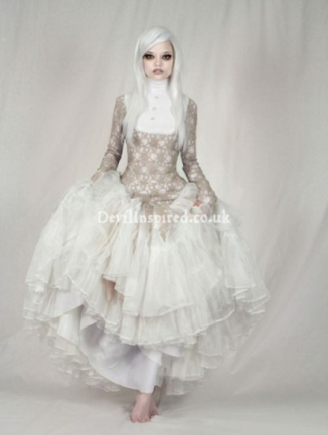 Vintage White Lace Steampunk Dress