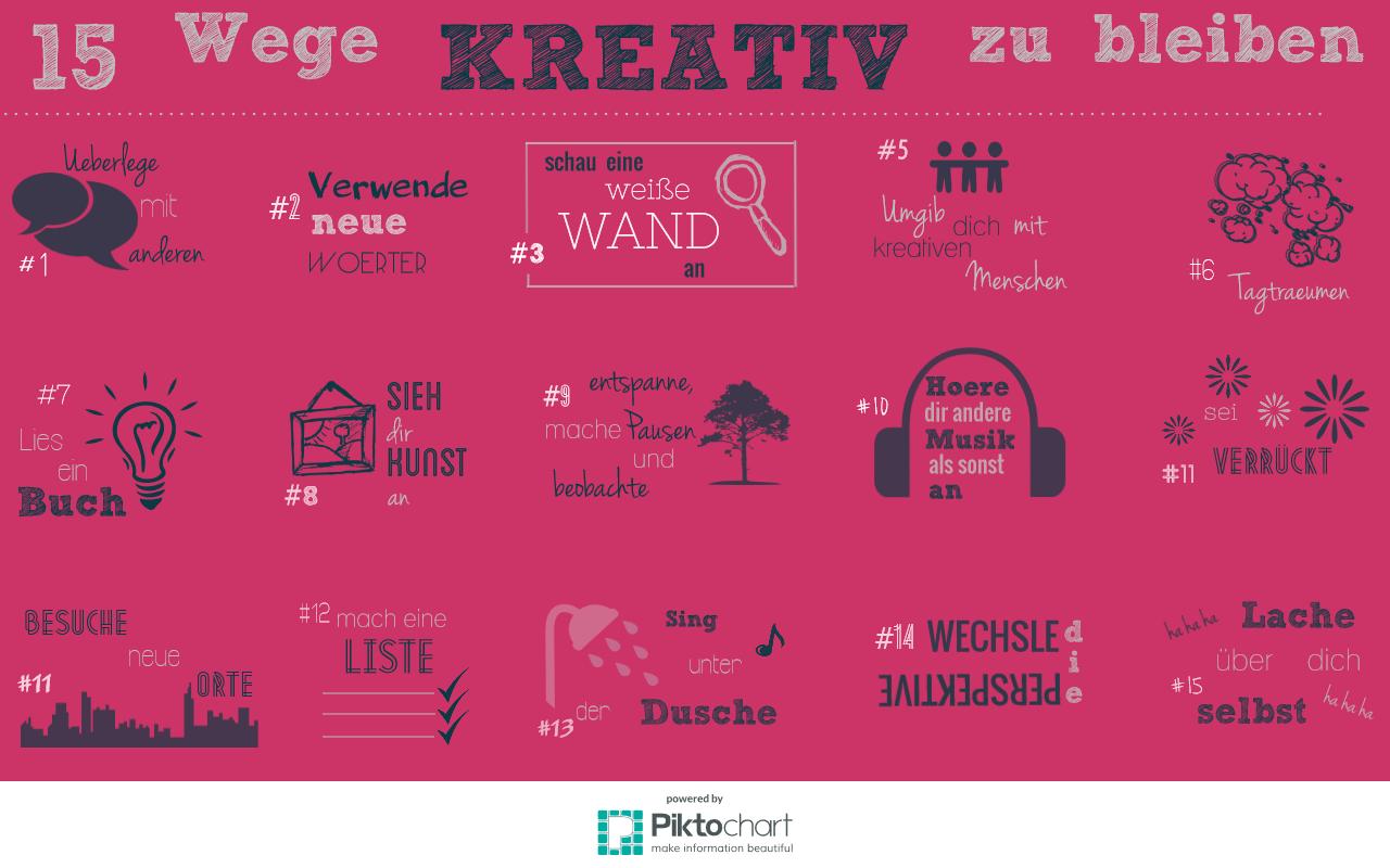 Infografik 15 Wege kreativ zu bleiben