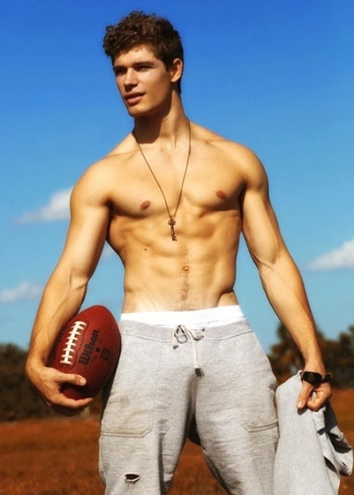 Shirtless Football Jock Outdoors