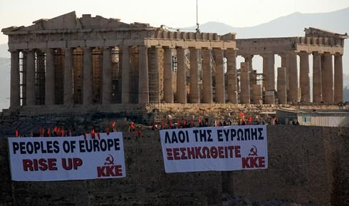 ... against the austerity package being forced through the Greek Parliament ...
