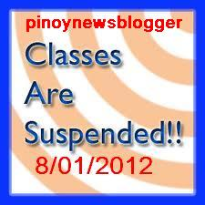 Suspension of Classes for August 1, 2012.