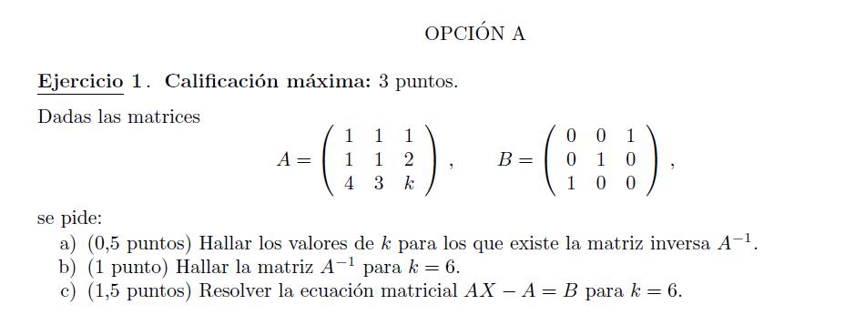 Selectividad Madrid matemáticas modelo 2014