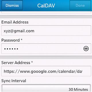 CalDAV setting
