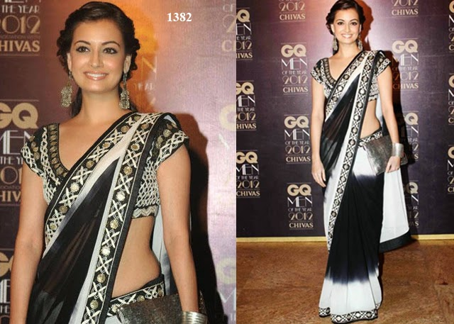 1382 - Bollywood actress Dia Mirza in Beautiful Designer Embroidered Saree with embroidered blouse