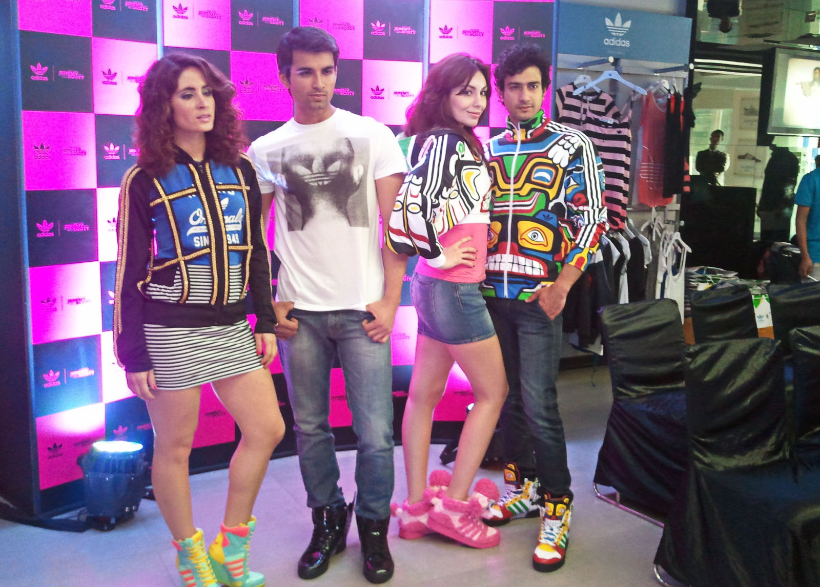 purchase cheap 1b3b6 a09dc The Jeremy Scott Collection for Adidas. Jackets and Shoes. Poodles in Pink